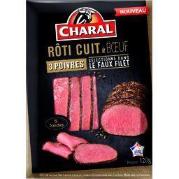 Charal Rôti cuit de bœuf 3 poivres la barquette de 5 tranches - 120 g