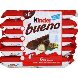 Kinder Kinder Bueno - Barres chocolatées lait et noisettes les 6x2 pièces - 258 g