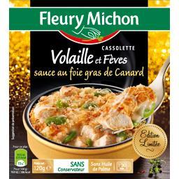 Cassolette volaille et fèves sauce au foie gras de canard