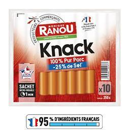 Saucisses Knack pur porc sel réduit