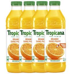 Pure Premium - Jus orange sans pulpe, le lot de 4 bo...