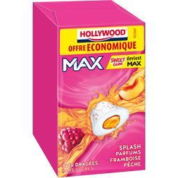 Hollywood Chewing gum Max parfums framboise pêche sans sucres les 3 boites de 22 g
