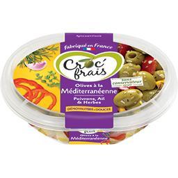 Croc' frais Croc'frais Olives à la méditerranéenne poivrons ail herbes la barquette de 200 g