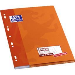 Oxford Oxford Feuilles simples perforées margé, petits carreaux 21x29,7 cm les 200 pages