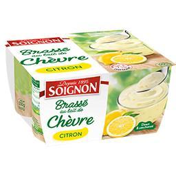 Soignon Soignon Yaourt brassé au lait de chèvre citron les 4 pots de 125 g
