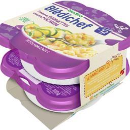 Blédina Blédina Blédichef - Fondue de courgettes et petits macaroni, dès 12 mois les 2 assiettes de 230 g