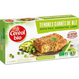 Tendres carrés de blé petits pois, courgettes, curry...