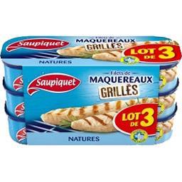 Saupiquet Saupiquet Filets de maquereaux grillés - nature le lot de 3 boîtes de 120g - 360g