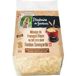 Mélange de fromages râpés au lait cru pour Fondue Sa...