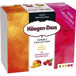Häagen-Dazs Haagen-Dazs Sorbet Collection - Sorbets mangue et framboise les 4 pots de 95 ml
