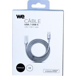 Câble USB/USB-C 2.0 alu et zinc 1 m argent