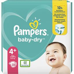 Pampers Pampers Couches baby-dry taille 4+, 10-15kg Le paquet de 25 couches