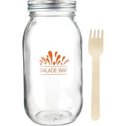 Mason Jar salade & fourchette bois 800 ml coloris assortis