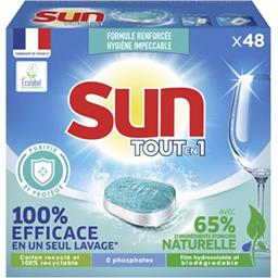 Sun Sun Tablettes lave-vaisselle tout en 1 purifie et protège la boîte de 48 tablettes