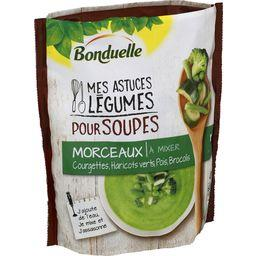 Légumes pour soupes morceaux courgettes haricots verts pois
