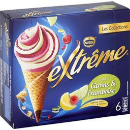 Nestlé Extrême Cônes sorbets citrons & framboise la boite de 6 - 426 g