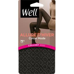 Collant coton bicolore T3/4 noir