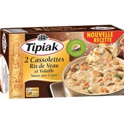 Cassolettes ris de veau et volaille sauce aux cèpes