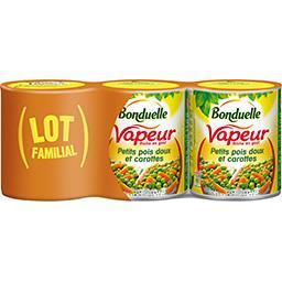 Bonduelle Bonduelle Vapeur - Petits pois doux et carottes les 3 boites de 530 g net égoutté - Lot Familial