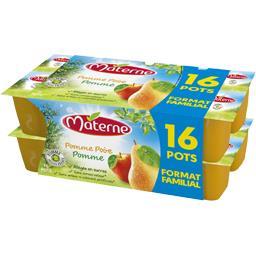 Materne Compote pomme poire allégée en sucres les 16 pots de 100 g
