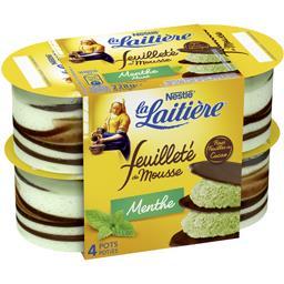 Nestlé La Laitière Feuilleté de Mousse menthe les 4 pots de 57 g