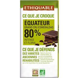 Ethiquable Ethiquable Chocolat noir 80% Equateur BIO la tablette de 100 g
