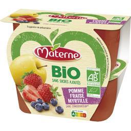Materne Materne BIO - Spécialité de fruits pomme fraise myrtille BIO les 4 pots de 100 g