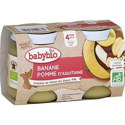 Babybio Babybio Desserts pomme d'Aquitaine banane BIO, dès 4 mois les 2 pots de 130 g