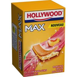 Hollywood Hollywood Max - Chewing-gums sans sucres parfums fruits du soleil les 3 paquets de 23 g - 69 g