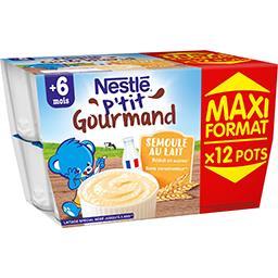 Nestlé Bébé P'tit Gourmand - Semoule au lait biscuitée, 6 + mois les 12 pots de 100 g