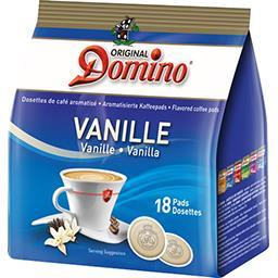 Original Domino Dosettes de café moulu aromatisé vanille les 18 dosettes de 7 g