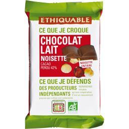 Ethiquable Ethiquable Chocolat au lait 42% noisettes entières BIO la tablette de 100 g