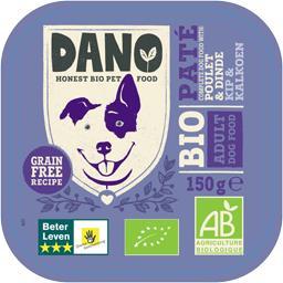 Dano Pâté pour chien poulet & dinde BIO la barquette de 150 g