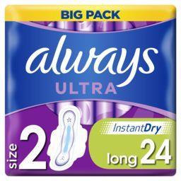 Always Always Serviettes hygiéniques ultra long (t2) ailettes Le paquet de 24 serviettes