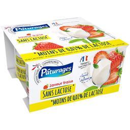 Pâturages Spécialité laitière saveur fraise sans lactose les 4 pots de 125 g