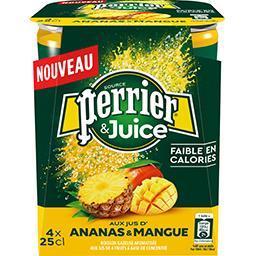Perrier Perrier Perrier & Juice - Boisson gazeuse ananas & mangue les 4 canettes de 25 cl