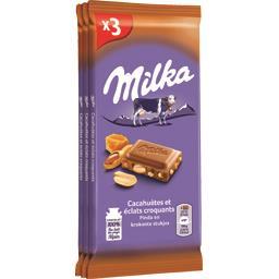 Milka Milka Chocolat au lait cacahuètes et éclats croquants les 3 tablettes de 90 g