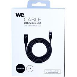 Câble USB/micro USB alu et zinc 1 m, noir
