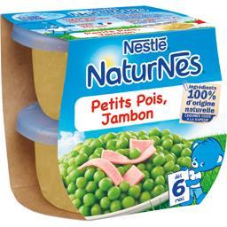 Nestlé Naturnes Petits pois jambon, dès 6 mois les 2 pots de 200 g