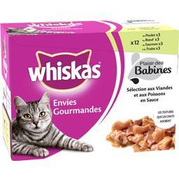 Aliment pour chat en sauce aux viandes/poissons 4 variétés