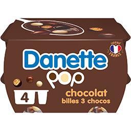 Danone Danone Danette - Crème dessert Pop chocolat billes 3 chocos les 4 pots de 117 g