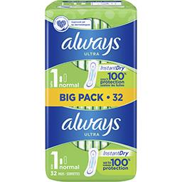 Always Always Ultra normal (t1) serviettes hygiéniques le pack de 32 serviettes