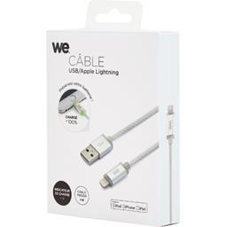 Câble USB/Lightning LED en nylon 1 m, argent