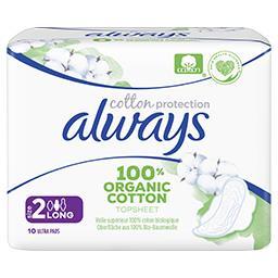 Always Always Cotton Comfort, serviettes long plus La boîte de 10 unités