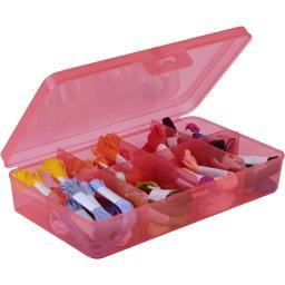 Boîte translucide 8 séparations fixes rouge 24,5x15x5,2cm