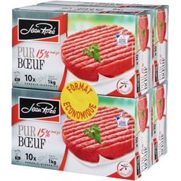 Jean Rozé Steak haché pur bœuf 15% MG les 4 boites de 1 kg