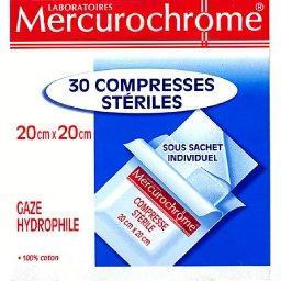Compresses stériles, 20cm x 20cm, gaze hydrophile, 1...