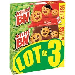 BN BN Mini - Assortiment biscuits fourrés goût chocolat fraise le lot de 3 paquets de 175 g
