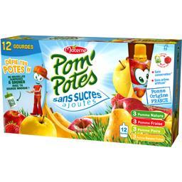 Materne Pom'potes Pom'Potes - Compote assortiment sans sucres ajoutés les 12 gourdes de 90 g