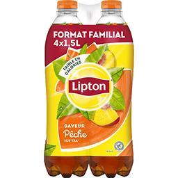 Lipton Lipton Ice Tea - Boisson saveur pêche les 4 bouteilles de 1,5 l